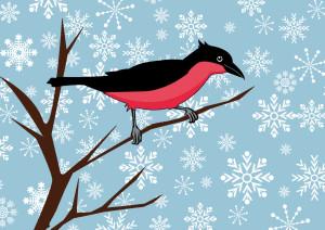 Der Zeilenvogel wünscht frohe Weihnachten.